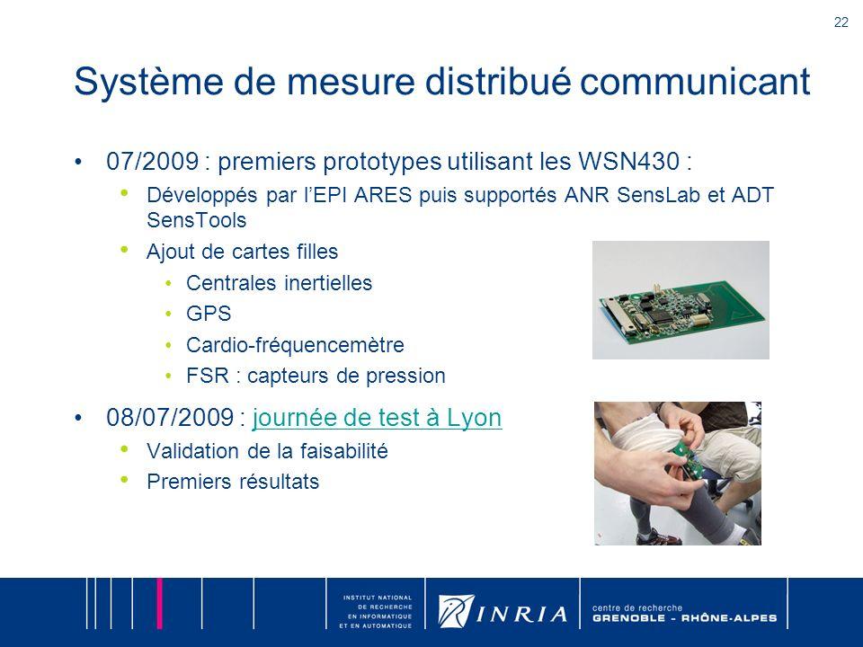 22 Système de mesure distribué communicant 07/2009 : premiers prototypes utilisant les WSN430 : Développés par lEPI ARES puis supportés ANR SensLab et