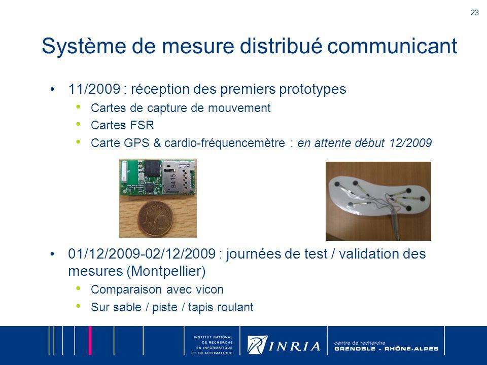 23 Système de mesure distribué communicant 11/2009 : réception des premiers prototypes Cartes de capture de mouvement Cartes FSR Carte GPS & cardio-fr