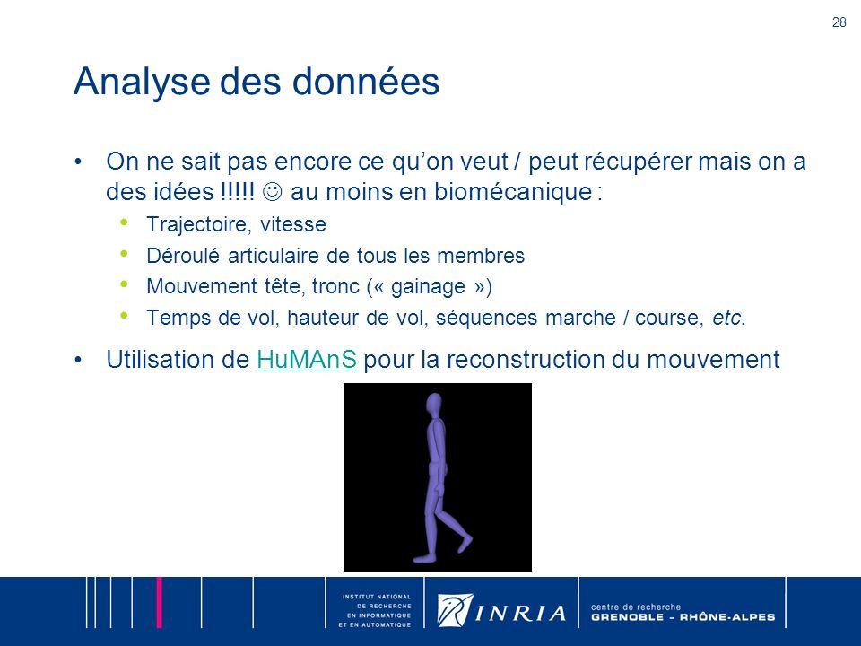 28 Analyse des données On ne sait pas encore ce quon veut / peut récupérer mais on a des idées !!!!! au moins en biomécanique : Trajectoire, vitesse D