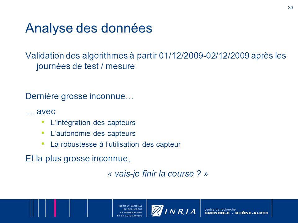 30 Analyse des données Validation des algorithmes à partir 01/12/2009-02/12/2009 après les journées de test / mesure Dernière grosse inconnue… … avec