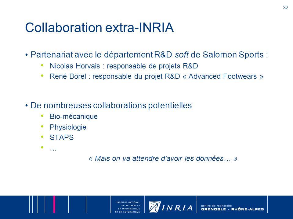 32 Collaboration extra-INRIA Partenariat avec le département R&D soft de Salomon Sports : Nicolas Horvais : responsable de projets R&D René Borel : re