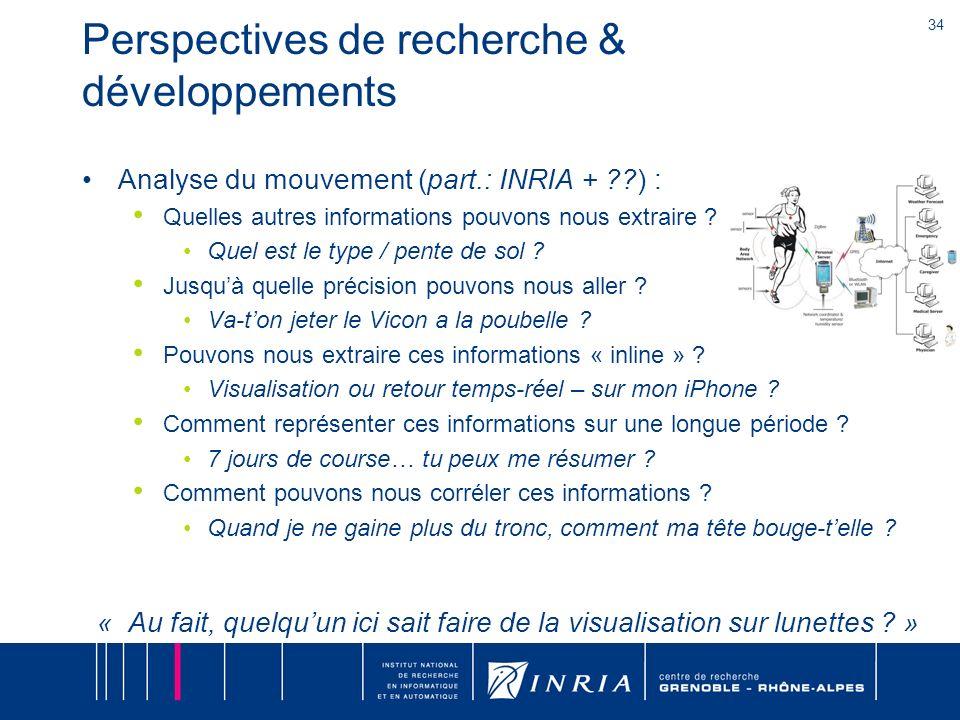 34 Perspectives de recherche & développements Analyse du mouvement (part.: INRIA + ??) : Quelles autres informations pouvons nous extraire ? Quel est