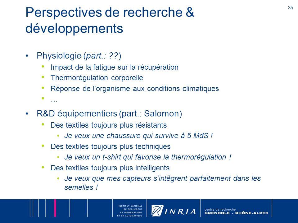 35 Perspectives de recherche & développements Physiologie (part.: ??) Impact de la fatigue sur la récupération Thermorégulation corporelle Réponse de