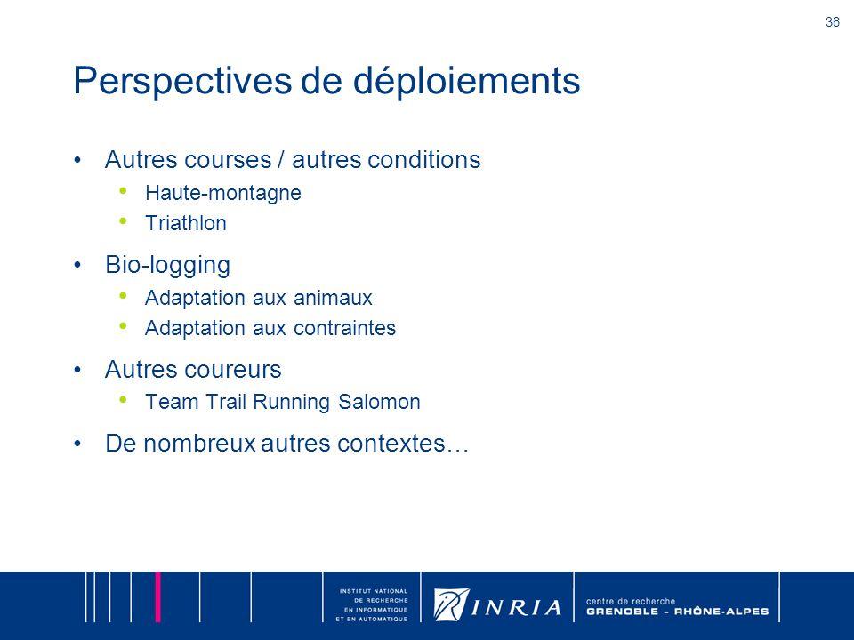 36 Perspectives de déploiements Autres courses / autres conditions Haute-montagne Triathlon Bio-logging Adaptation aux animaux Adaptation aux contrain