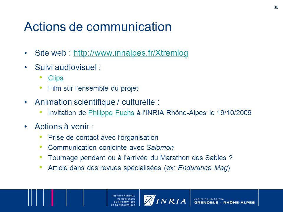 39 Actions de communication Site web : http://www.inrialpes.fr/Xtremloghttp://www.inrialpes.fr/Xtremlog Suivi audiovisuel : Clips Film sur lensemble d