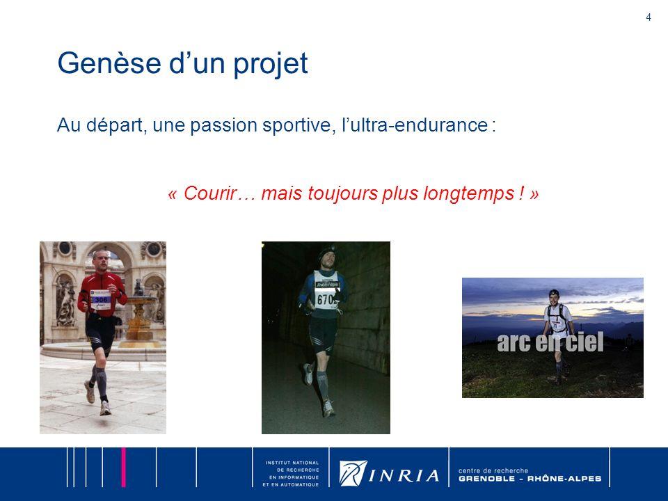 4 Genèse dun projet Au départ, une passion sportive, lultra-endurance : « Courir… mais toujours plus longtemps ! »
