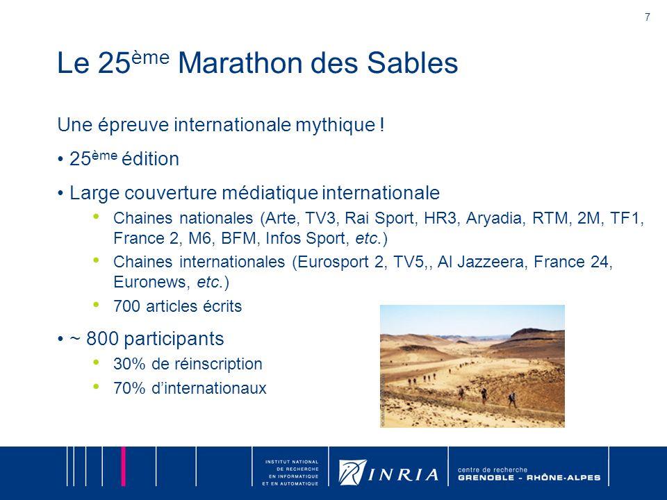 7 Le 25 ème Marathon des Sables Une épreuve internationale mythique ! 25 ème édition Large couverture médiatique internationale Chaines nationales (Ar