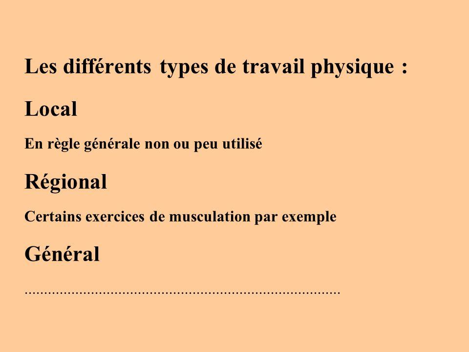 Les différents types de travail physique : Local En règle générale non ou peu utilisé Régional Certains exercices de musculation par exemple Général..