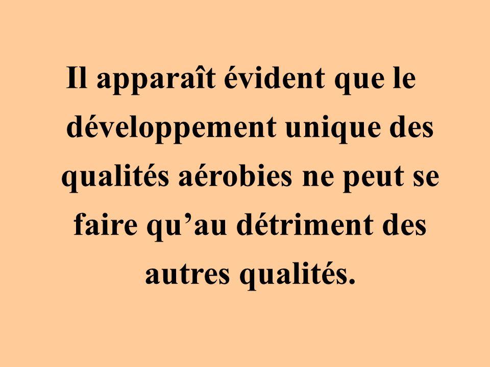 Il apparaît évident que le développement unique des qualités aérobies ne peut se faire quau détriment des autres qualités.
