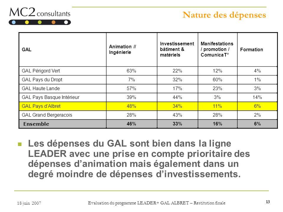 13 18 juin 2007 Evaluation du programme LEADER+ GAL ALBRET – Restitution finale Nature des dépenses Les dépenses du GAL sont bien dans la ligne LEADER