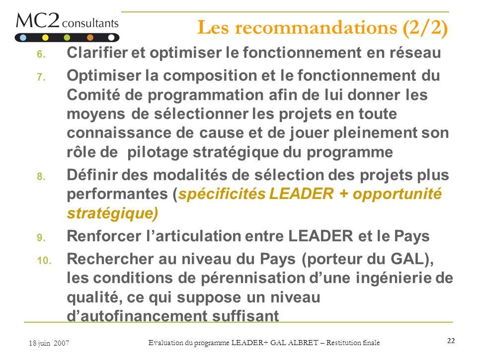 22 18 juin 2007 Evaluation du programme LEADER+ GAL ALBRET – Restitution finale Les recommandations (2/2) 6. Clarifier et optimiser le fonctionnement