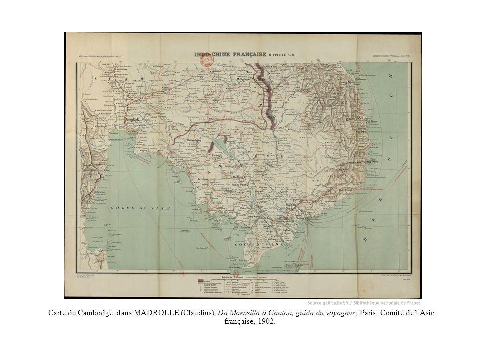 Carte du Cambodge, dans MADROLLE (Claudius), De Marseille à Canton, guide du voyageur, Paris, Comité de lAsie française, 1902.