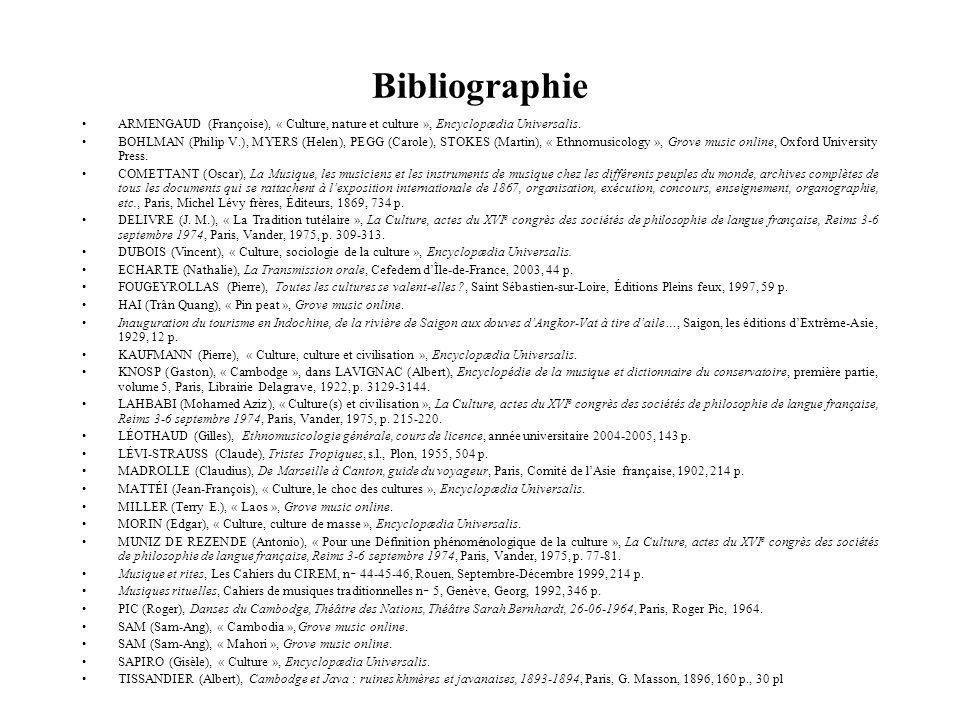 ARMENGAUD (Françoise), « Culture, nature et culture », Encyclopædia Universalis. BOHLMAN (Philip V.), MYERS (Helen), PEGG (Carole), STOKES (Martin), «