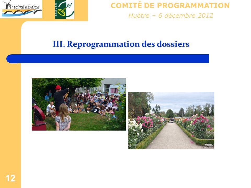12 COMITÉ DE PROGRAMMATION III. Reprogrammation des dossiers Huêtre – 6 décembre 2012