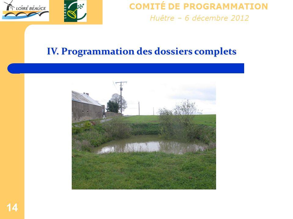 14 COMITÉ DE PROGRAMMATION IV. Programmation des dossiers complets Huêtre – 6 décembre 2012