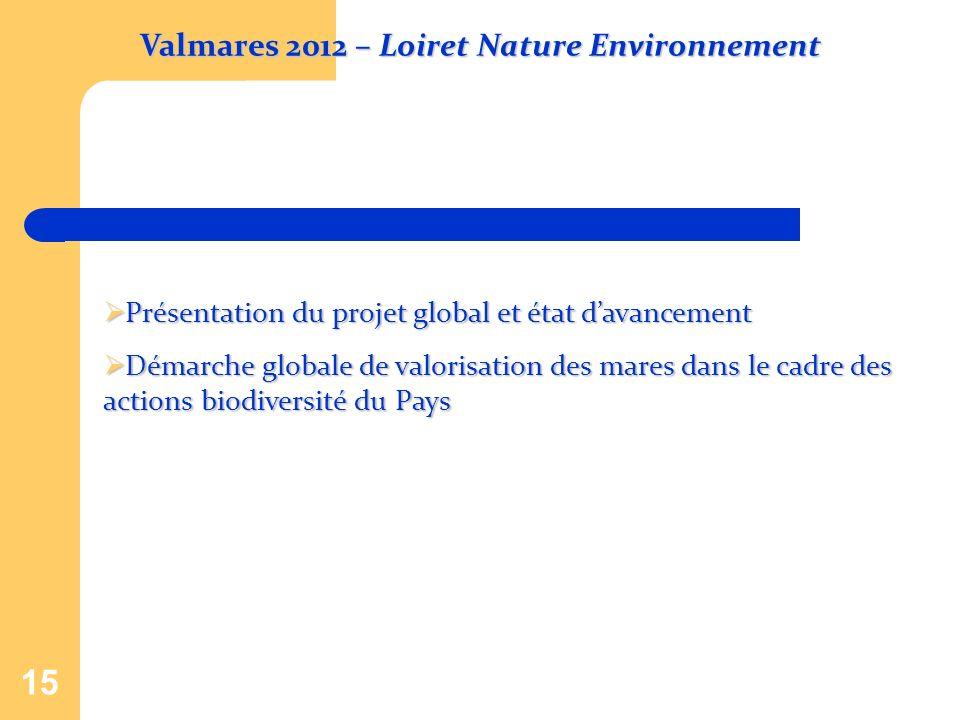 15 Présentation du projet global et état davancement Présentation du projet global et état davancement Démarche globale de valorisation des mares dans
