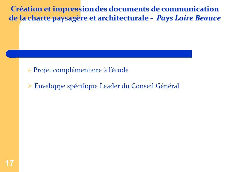 17 Projet complémentaire à létude Enveloppe spécifique Leader du Conseil Général Création et impression des documents de communication de la charte pa