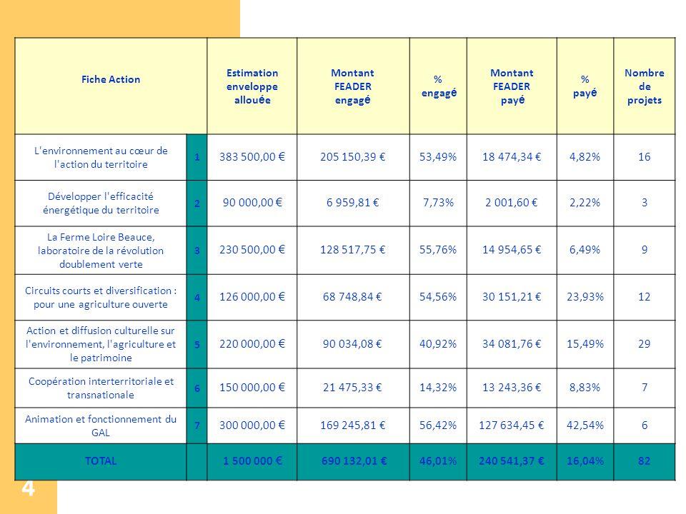 4 Fiche Action Estimation enveloppe allou é e Montant FEADER engag é % engag é Montant FEADER pay é % pay é Nombre de projets L'environnement au cœur