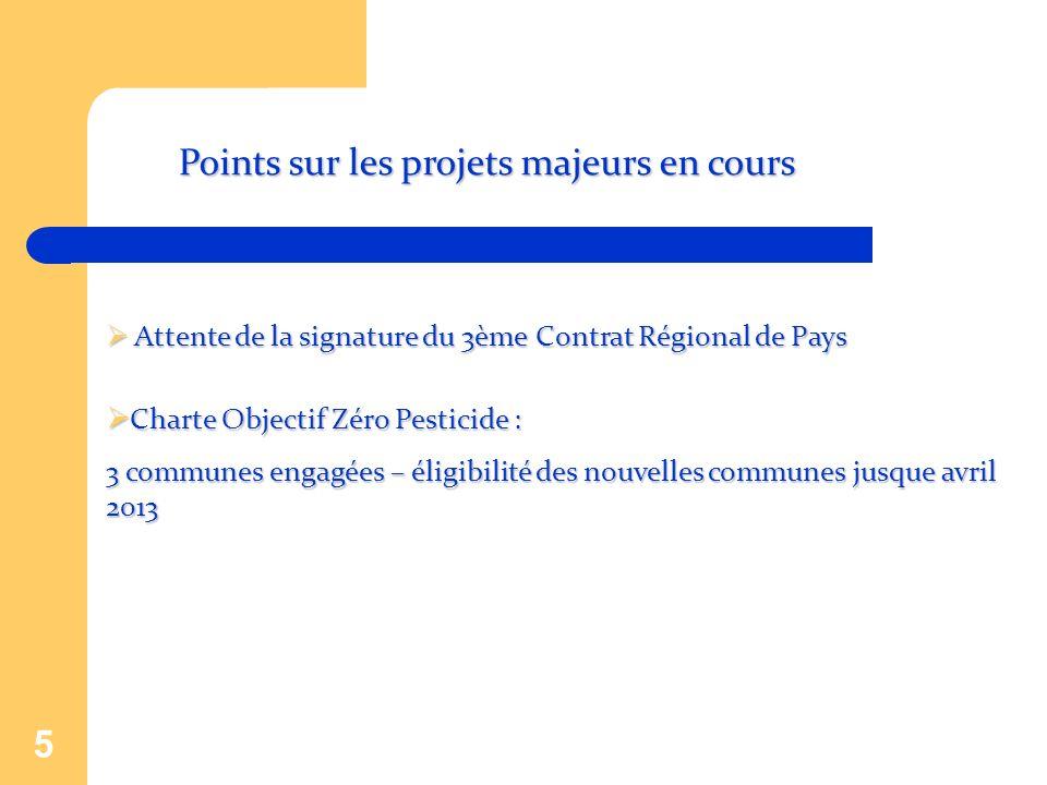 5 Points sur les projets majeurs en cours Attente de la signature du 3ème Contrat Régional de Pays Attente de la signature du 3ème Contrat Régional de