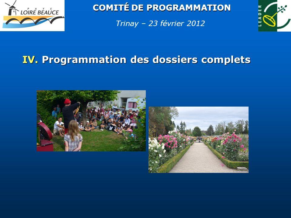 COMITÉ DE PROGRAMMATION IV. Programmation des dossiers complets Trinay – 23 février 2012
