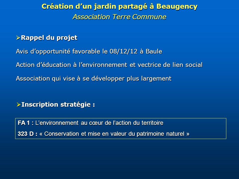 Rappel du projet Rappel du projet Avis dopportunité favorable le 08/12/12 à Baule Action déducation à lenvironnement et vectrice de lien social Associ