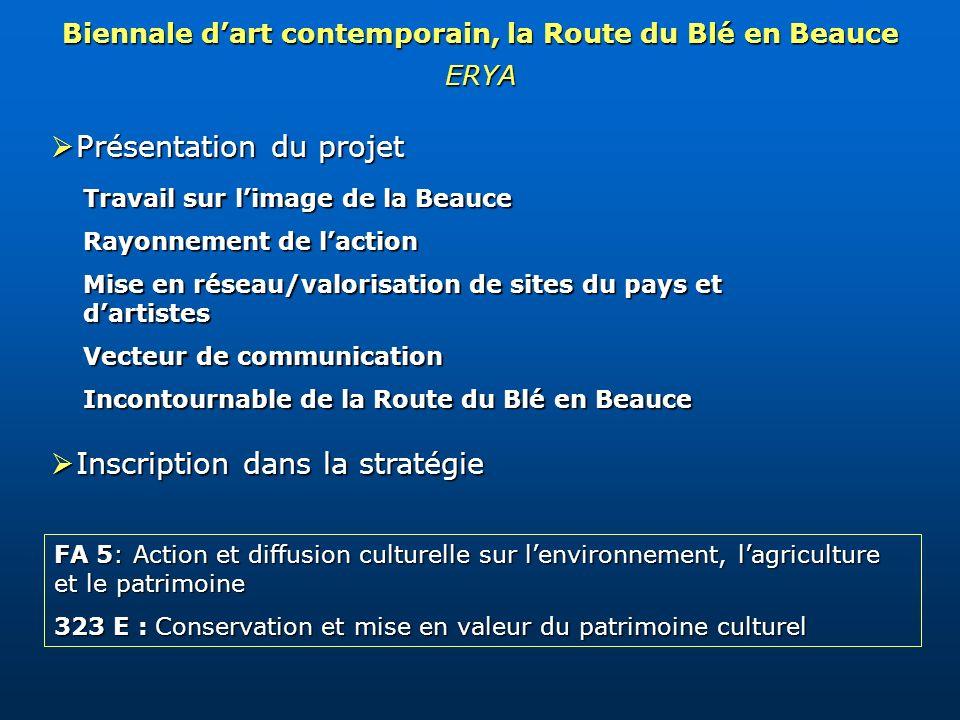 Biennale dart contemporain, la Route du Blé en Beauce ERYA Présentation du projet Présentation du projet Inscription dans la stratégie Inscription dan