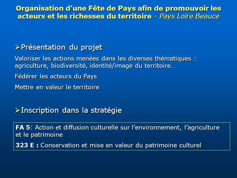 Organisation dune Fête de Pays afin de promouvoir les acteurs et les richesses du territoire - Pays Loire Beauce Présentation du projet Présentation d