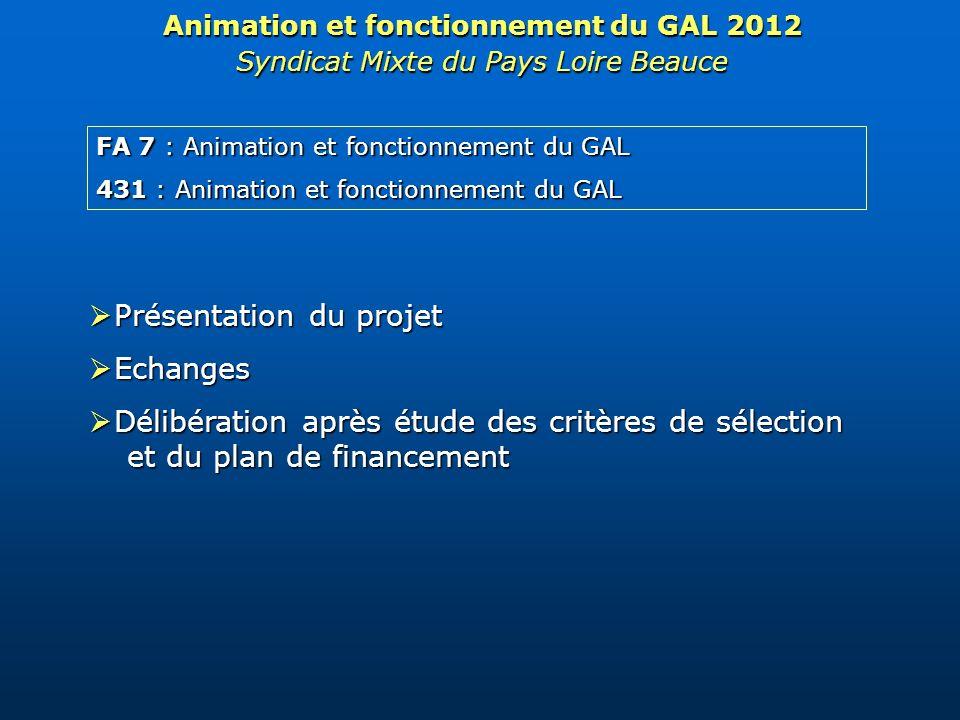 FA 7 : Animation et fonctionnement du GAL 431 : Animation et fonctionnement du GAL Animation et fonctionnement du GAL 2012 Syndicat Mixte du Pays Loir