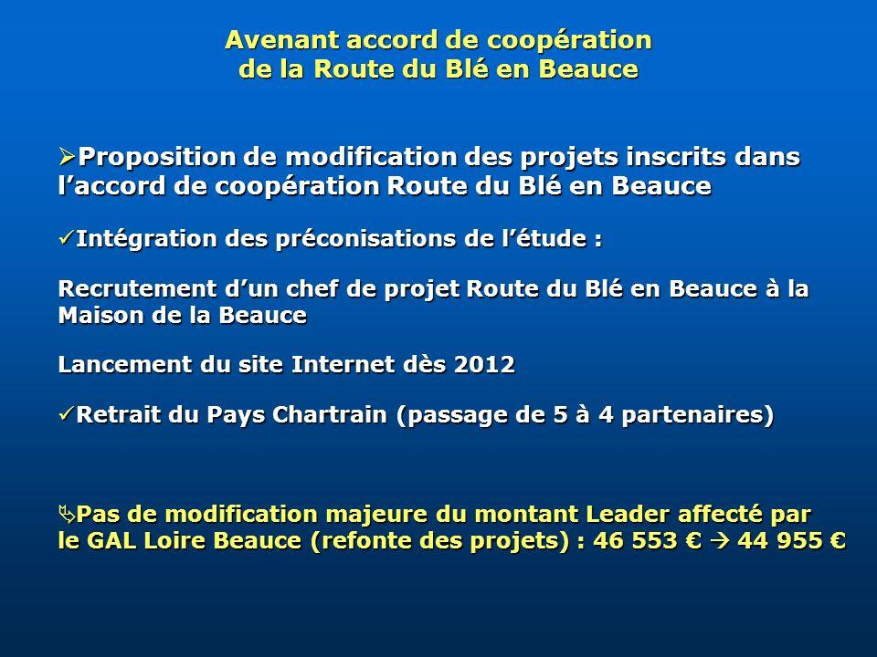 Proposition de modification des projets inscrits dans laccord de coopération Route du Blé en Beauce Proposition de modification des projets inscrits d
