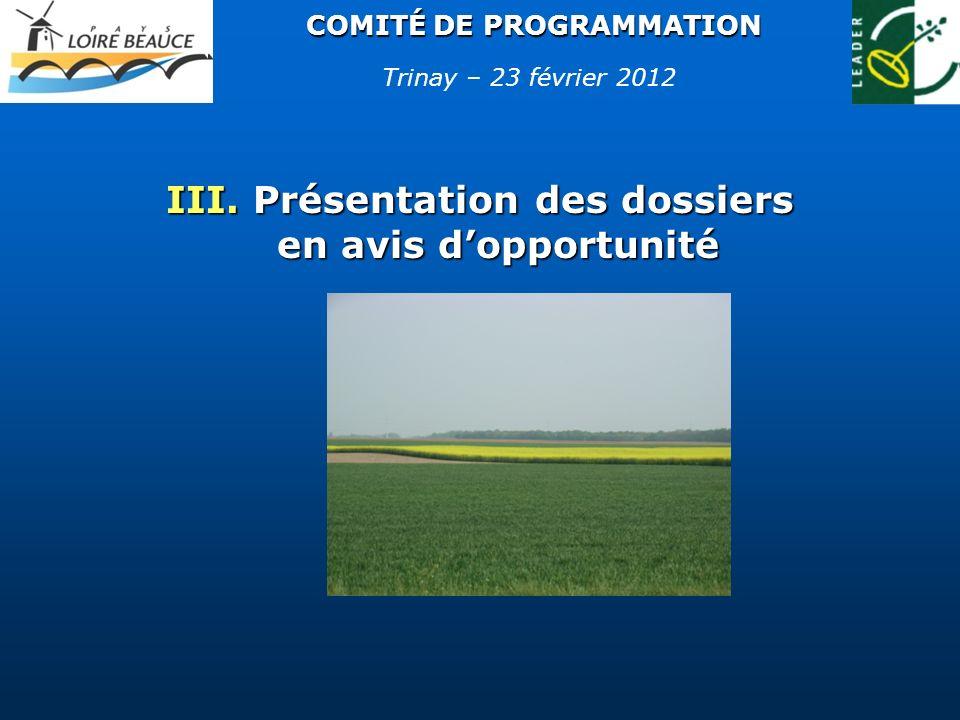 COMITÉ DE PROGRAMMATION III. Présentation des dossiers en avis dopportunité Trinay – 23 février 2012