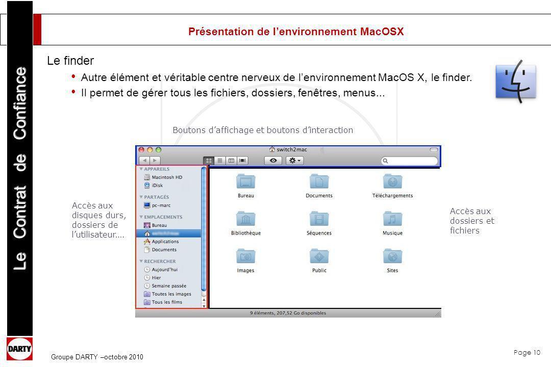 Page 10 Le Contrat de Confiance Groupe DARTY –octobre 2010 Présentation de lenvironnement MacOSX Le finder Autre élément et véritable centre nerveux d