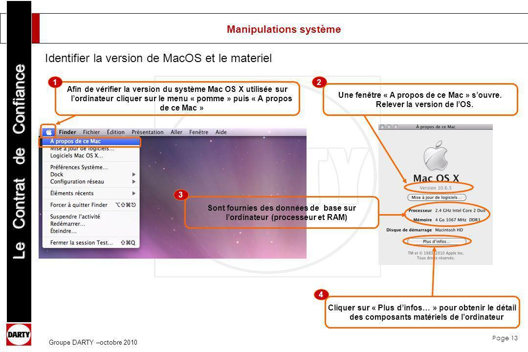 Page 13 Le Contrat de Confiance Groupe DARTY –octobre 2010 Manipulations système Afin de vérifier la version du système Mac OS X utilisée sur lordinat