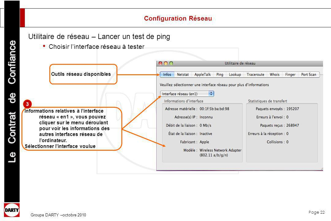 Page 22 Le Contrat de Confiance Groupe DARTY –octobre 2010 Outils réseau disponibles Informations relatives à linterface réseau « en1 », vous pouvez c