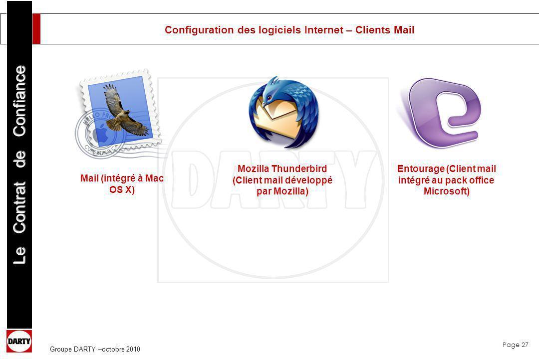 Page 27 Le Contrat de Confiance Groupe DARTY –octobre 2010 Mail (intégré à Mac OS X) Mozilla Thunderbird (Client mail développé par Mozilla) Entourage