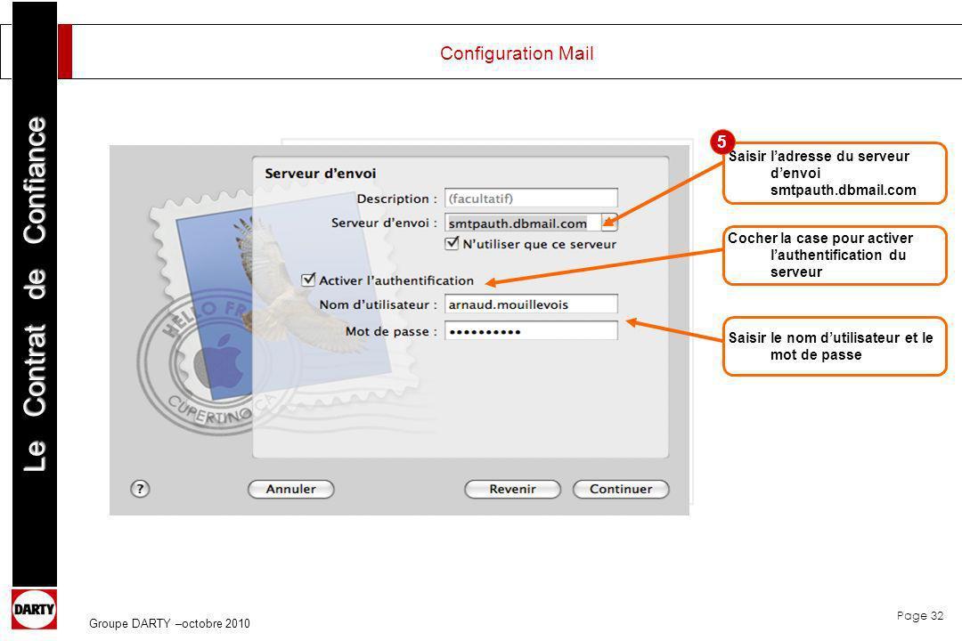 Page 32 Le Contrat de Confiance Groupe DARTY –octobre 2010 Saisir ladresse du serveur denvoi smtpauth.dbmail.com Cocher la case pour activer lauthenti