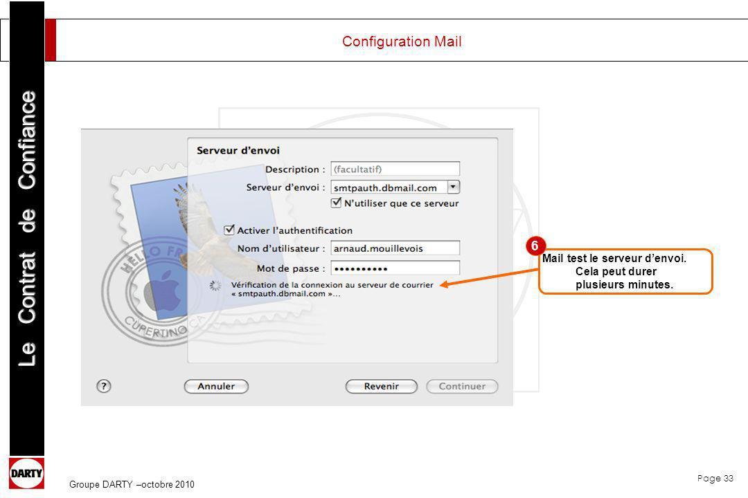 Page 33 Le Contrat de Confiance Groupe DARTY –octobre 2010 Mail test le serveur denvoi. Cela peut durer plusieurs minutes. 6 Configuration Mail