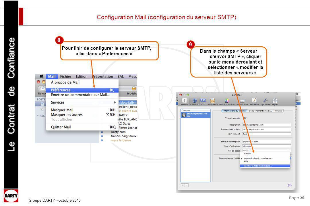 Page 35 Le Contrat de Confiance Groupe DARTY –octobre 2010 Configuration Mail (configuration du serveur SMTP) Pour finir de configurer le serveur SMTP
