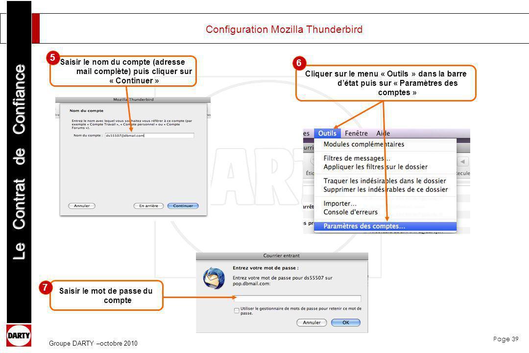 Page 39 Le Contrat de Confiance Groupe DARTY –octobre 2010 Configuration Mozilla Thunderbird Saisir le nom du compte (adresse mail complète) puis cliq