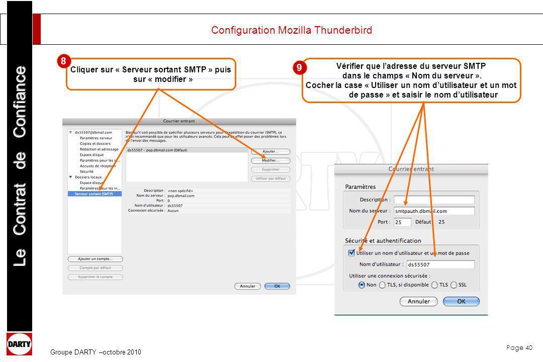 Page 40 Le Contrat de Confiance Groupe DARTY –octobre 2010 Configuration Mozilla Thunderbird Cliquer sur « Serveur sortant SMTP » puis sur « modifier