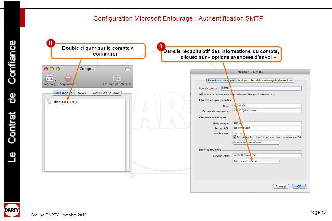 Page 45 Le Contrat de Confiance Groupe DARTY –octobre 2010 Configuration Microsoft Entourage : Authentification SMTP Double cliquer sur le compte à co