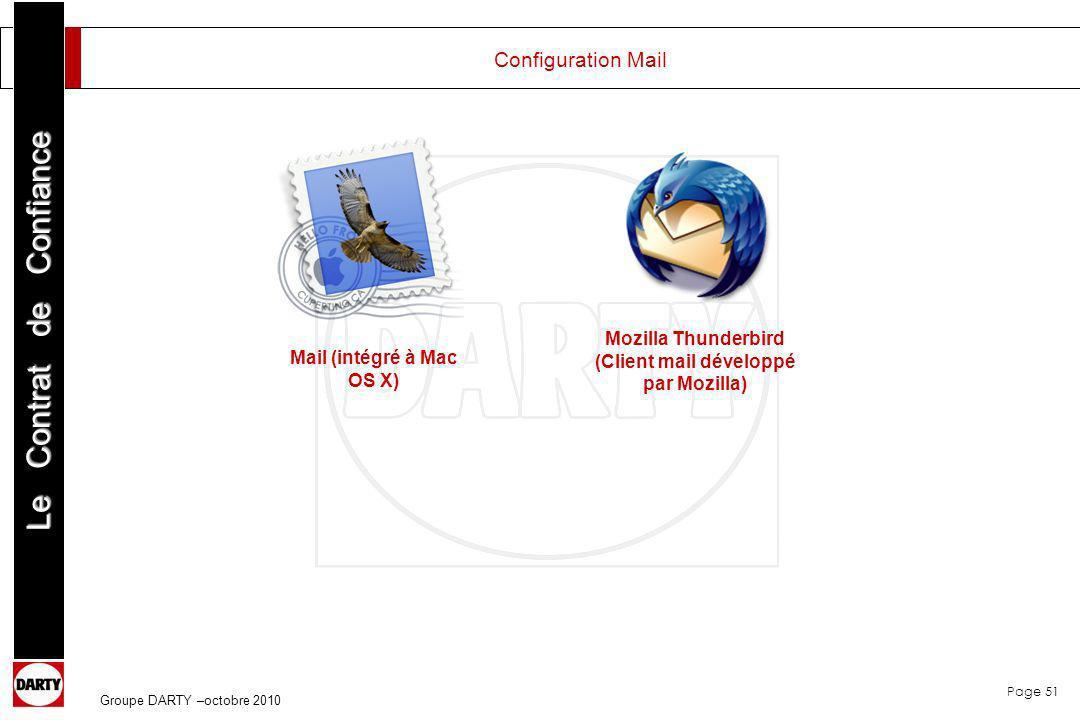 Page 51 Le Contrat de Confiance Groupe DARTY –octobre 2010 Configuration Mail Mail (intégré à Mac OS X) Mozilla Thunderbird (Client mail développé par