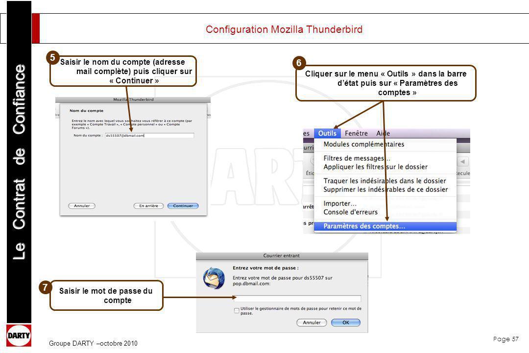 Page 57 Le Contrat de Confiance Groupe DARTY –octobre 2010 Configuration Mozilla Thunderbird Saisir le nom du compte (adresse mail complète) puis cliq
