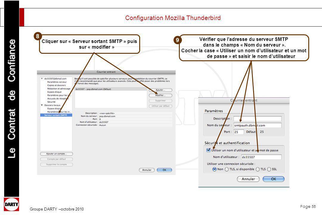 Page 58 Le Contrat de Confiance Groupe DARTY –octobre 2010 Configuration Mozilla Thunderbird Cliquer sur « Serveur sortant SMTP » puis sur « modifier