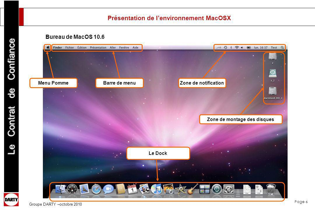 Page 6 Le Contrat de Confiance Groupe DARTY –octobre 2010 Présentation de lenvironnement MacOSX Barre de menu Le Dock Menu Pomme Bureau de MacOS 10.6