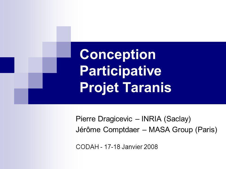 Projet Taranis Système de planification, de gestion et dentraînement pour les cellules de crise Partenaires: MASA Group (Simulations) LRI / INRIA (Interfaces Homme-Machine) ESRI (SIGs)