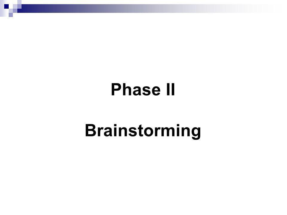 Phase II Brainstorming