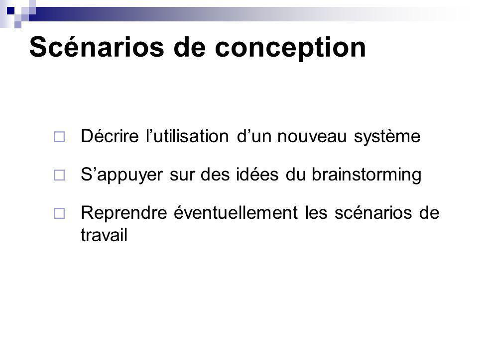 Scénarios de conception Décrire lutilisation dun nouveau système Sappuyer sur des idées du brainstorming Reprendre éventuellement les scénarios de tra