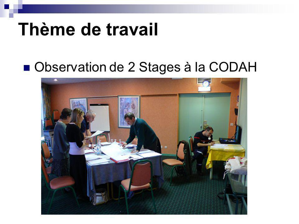 Thème de travail Observation de 2 Stages à la CODAH