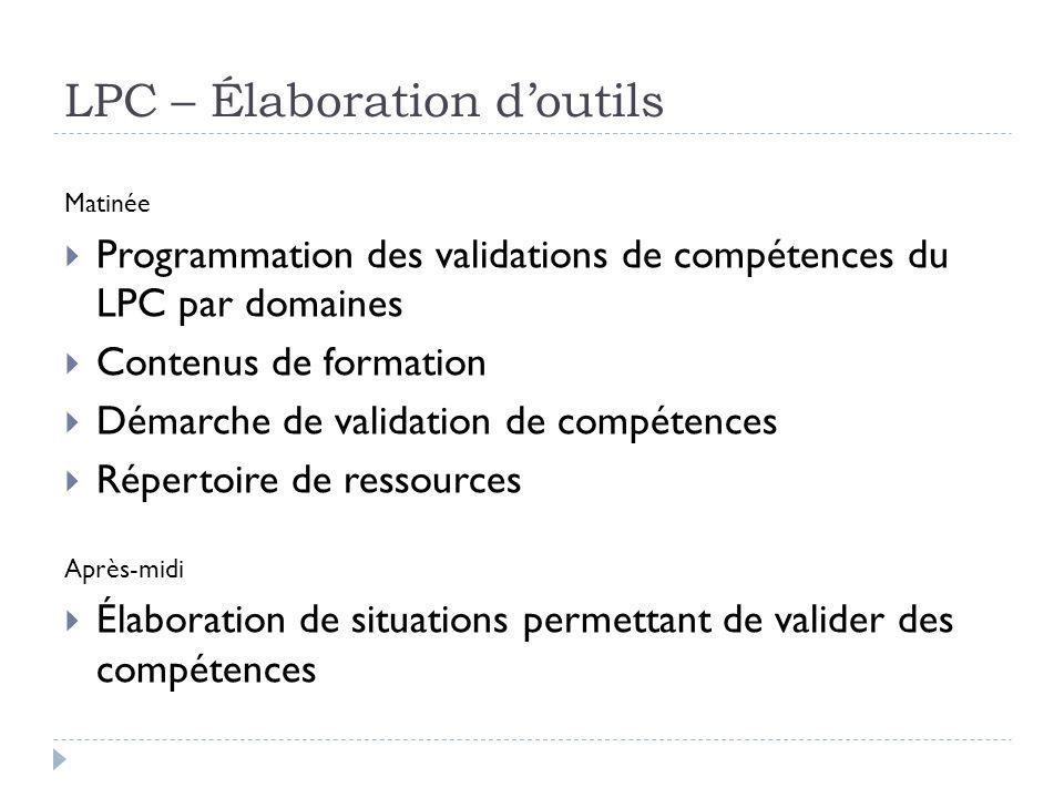 LPC – Élaboration doutils Matinée Programmation des validations de compétences du LPC par domaines Contenus de formation Démarche de validation de com