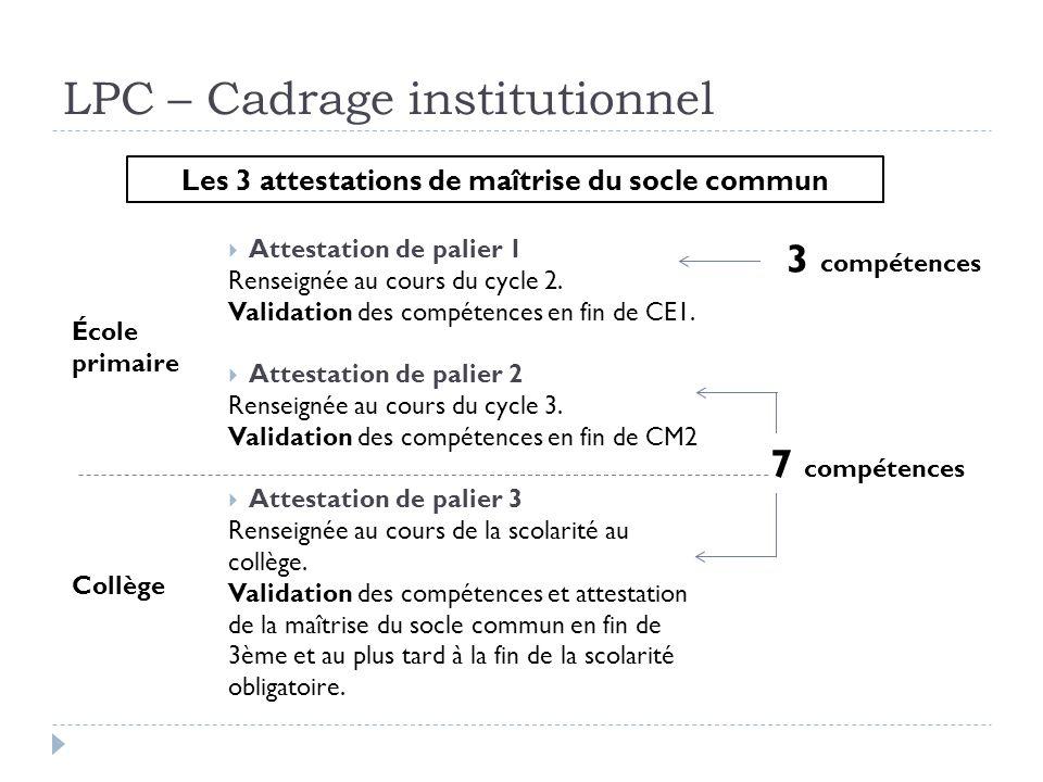 LPC – Cadrage institutionnel Attestation de palier 1 Renseignée au cours du cycle 2. Validation des compétences en fin de CE1. Attestation de palier 2
